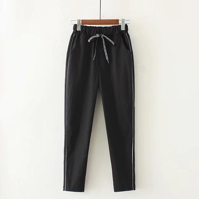 Casual Elastic Waisted Side Stripe Pant Women Loose Cotton Ankle Length Pantsrricdress-rricdress