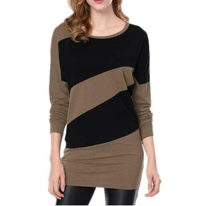 Womens Tops and Blouses Autumn 2018 Feminina Vintage Color Block Long Sleeverricdress-rricdress