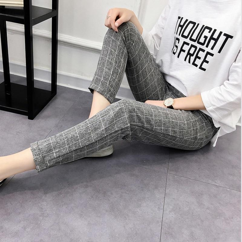 Women's Plaid Pants Elastic Bow Tie Drawstring Casual Loose Pockets Trousers 2018rricdress-rricdress