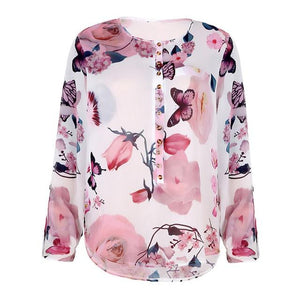 Chiffon Womens Tops And Blouses Plus Size 5XL Print Floral O-neck Longrricdress-rricdress
