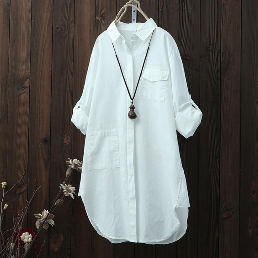 Tops For Womens Tops and Blouses 2018 Korean Linen Pocket Long Sleeverricdress-rricdress