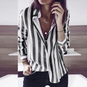 Women Shirts Fashion Women Striped Casual Top Shirt Ladies Loose Long Sleeverricdress-rricdress