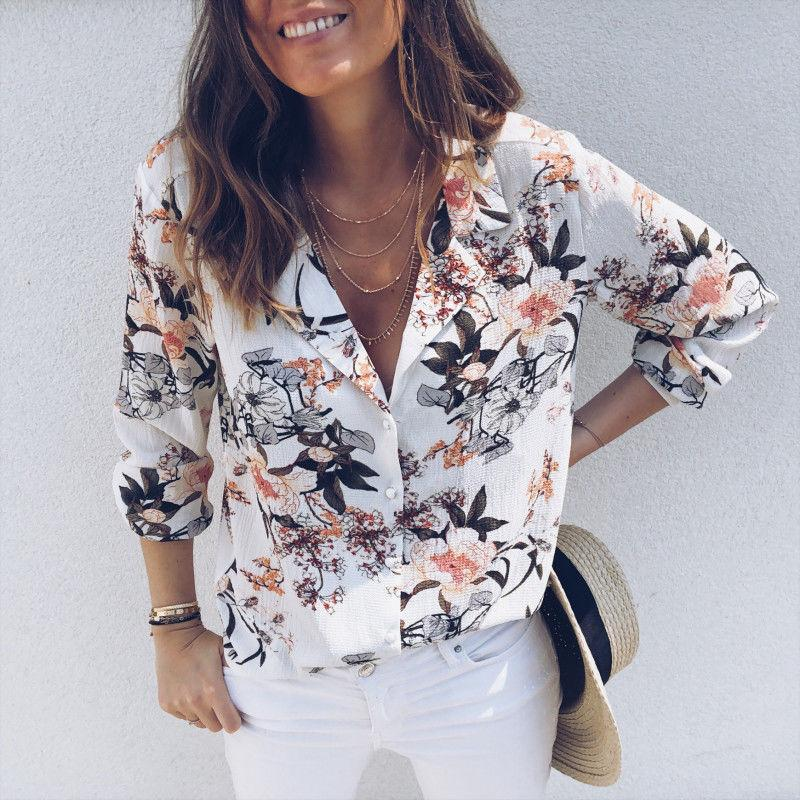 Fashion Casual Womens Tops and Blouses Elegant Long Sleeve V neck Floralrricdress-rricdress