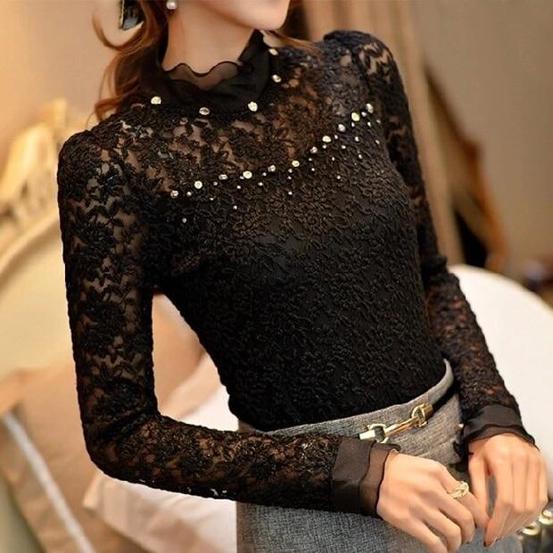 2018 New Ruffled Collar Long Sleeve Blouses Shirts with Beaded Plusrricdress-rricdress