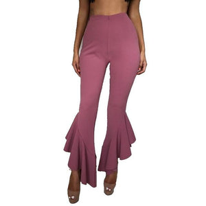 New Women Flare Pants Elegant Stretch High Waist Wide Leg Long Pantsrricdress-rricdress