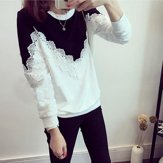 2018 Autumn Winter New Fashion Women Blouse Shirt Casual O Neck Lacerricdress-rricdress