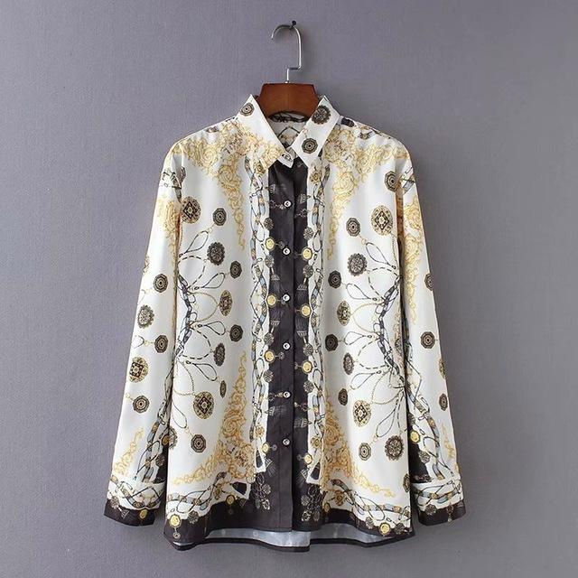new women casual vintage court printing loose Blouse shirt women retro autumnrricdress-rricdress