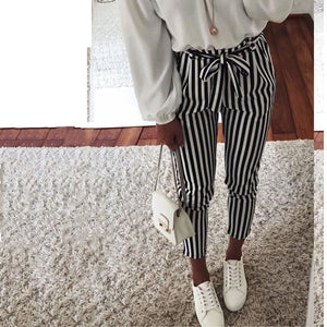 2018 new Autumn Black and White Casua Belt Striped Pants Women fashionrricdress-rricdress