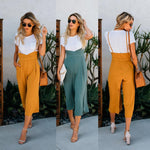 2018 New Fashion Summer women loose trousers England Style Mid green yellowrricdress-rricdress
