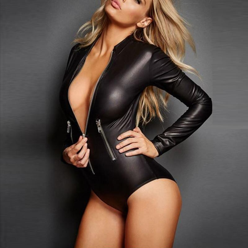 2018 Long Sleeve Sexy Bodysuit Women Zipper Black Pu Leather Bodyconrricdress-rricdress
