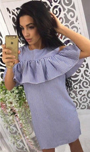 Ladies Ruffles Cold Shoulder Blue Striped Dress Women 2018 Casual O-Neck Shortrricdress-rricdress