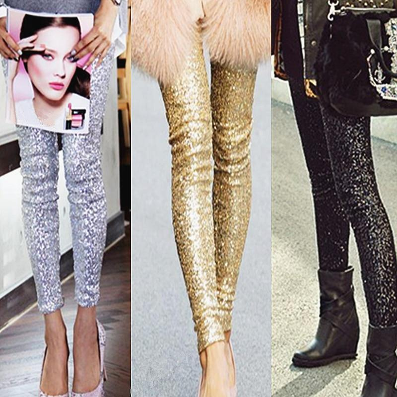 Women Punk Bling Trousers Shining Gold Black Silver Sequins Leggings Fashion Streetwearrricdress-rricdress