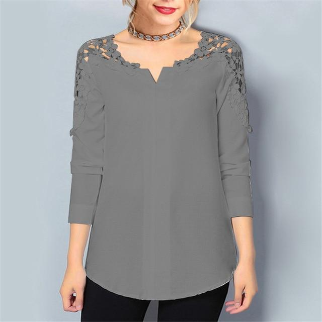 2018 Womens Tops And Blouses Casual Long Sleeve Chiffon Blouse Officerricdress-rricdress