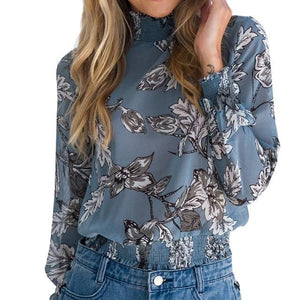 Nibesser Female Floral Print Blouse Shirt 2018 Button Irregular Women Top Chiffonrricdress-rricdress