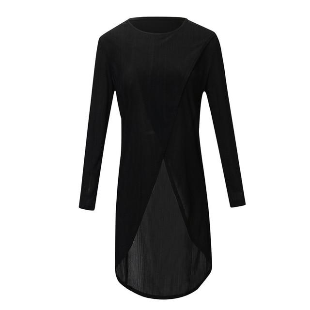 Womens Tops and Long Sleeve Blouses 2018 Streetwear Solid Long Shirts Womanrricdress-rricdress