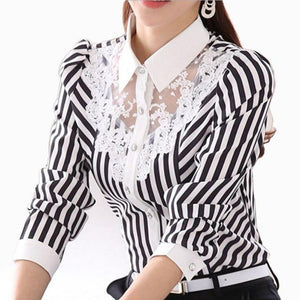 2018 Fashion Women Blouse Long Sleeve Lace Tops Striped Turn-Down Collar Blousesrricdress-rricdress