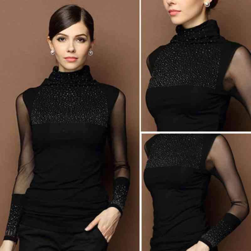 Fashion Women's Casual Turtle Neck Long Sleeve Knitted Slim Tops Shirt Cottonrricdress-rricdress