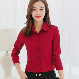 Women Long Sleeved Solid Chiffon Blouse 2018 Office Lady Spring Summer Plusrricdress-rricdress