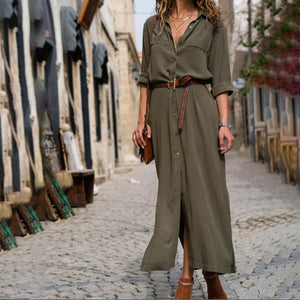 New Autumn Ladies Long Shirtdress Women Fashion Long Sleeve Button Side Sliprricdress-rricdress
