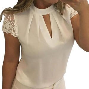 Women Sexy Blouses Chiffon Short Sleeve Hollow Splice Lace Tops Blouse Summerrricdress-rricdress