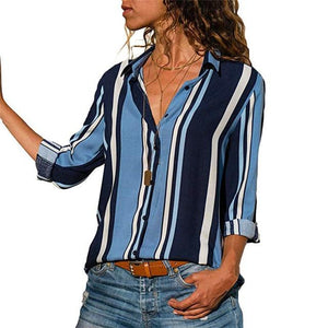 Blouse 2018 Women Shirt Casual Long Sleeve Stripe Button Turn-down Female Shirtsrricdress-rricdress