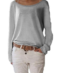 2018 New Solid Knitted Blouse Female Casual O Neck Long Sleeve Womenrricdress-rricdress