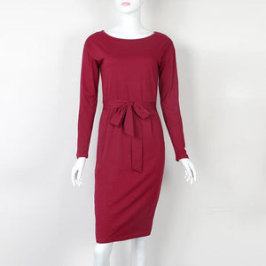 Autumn Winter Women Dress Plus Size 2XL Solid Long Sleeve Knee-Length Casualrricdress-rricdress