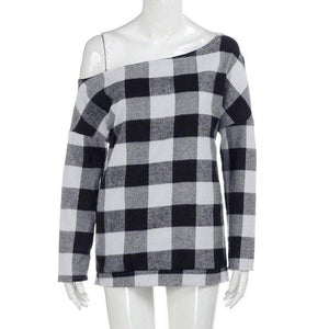 Women Blouse Shirt camisa feminina Sexy Cold Shoulder Long Sleeve Plaid Topsrricdress-rricdress