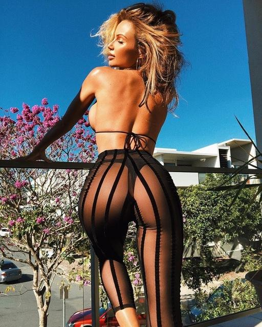 Sexy See Through Trousers 2018 Women Summer Cory Holiday Black Mesh Stripedrricdress-rricdress