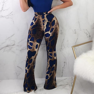 Snakeskin Sexy Pants High Waist Skinny Bell Bottoms Trousers Ladies Stretchy Casualrricdress-rricdress