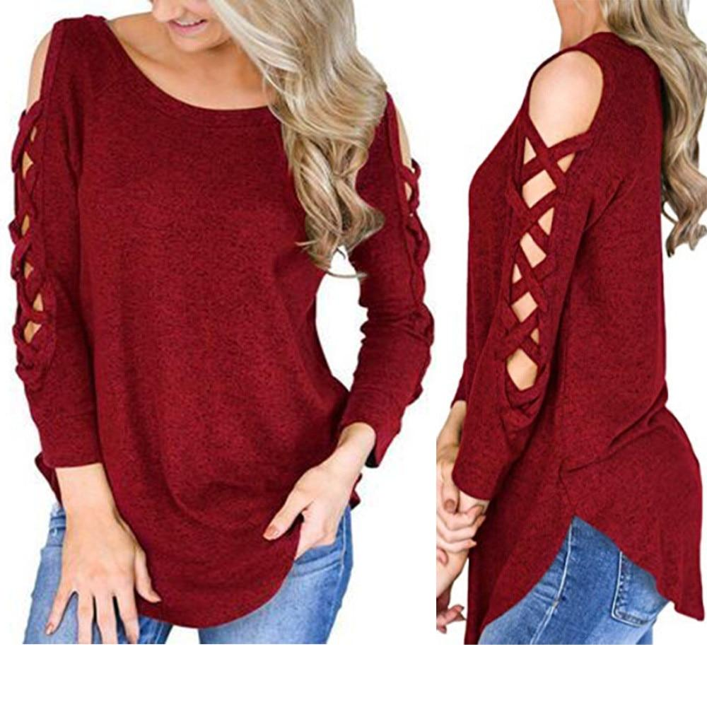 2018 Women Clothing Blouses Women Long Sleeve Strappy Cold Shoulder Solidrricdress-rricdress