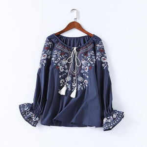 2018 Autumn Women Fashion Cotton Shirt Casual Summer Floral Embroidery Lace-up O-neckrricdress-rricdress