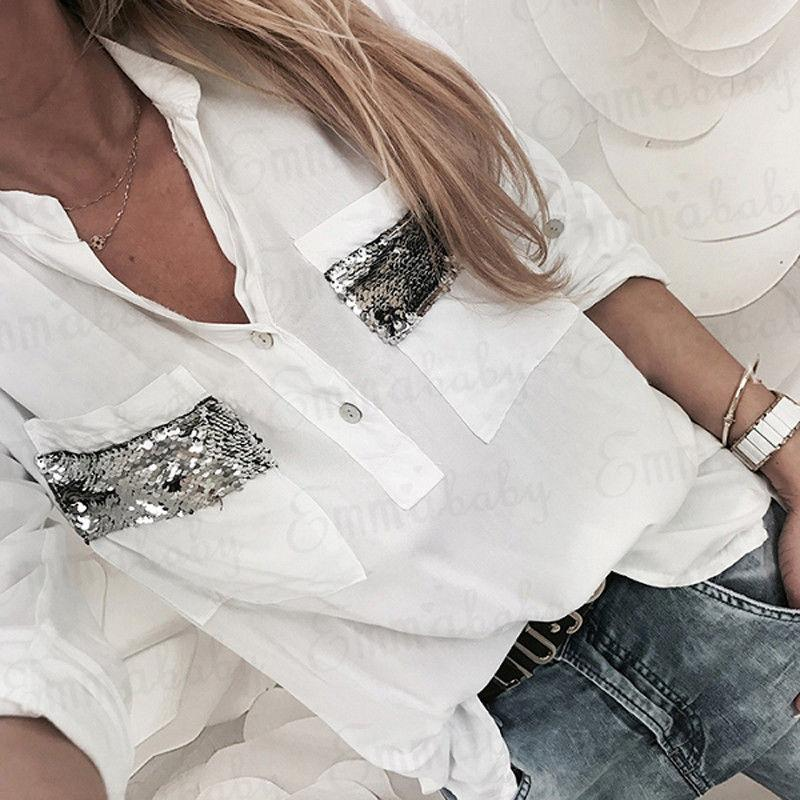 2018 New Women White Blouse Long Sleeve Button-Down Low Cut Blouse Whiterricdress-rricdress
