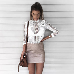Lace See through Crop Shirt Women Blouse Autumn One Neck Long Sleeverricdress-rricdress