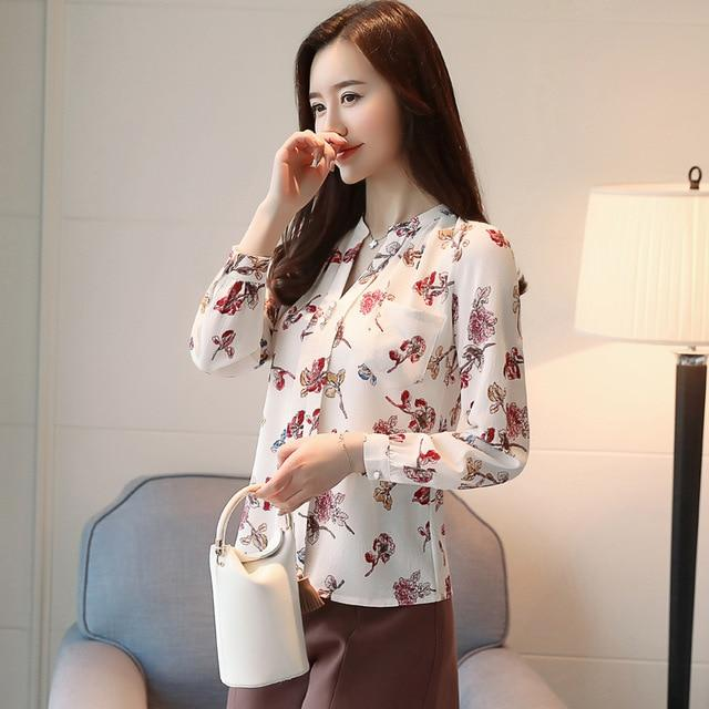 2018 V-Neck Chiffon Blouses Slim Women Chiffon Blouse Womens Tops And Blousesrricdress-rricdress