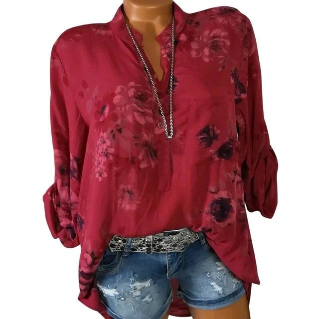 Womens Tops And Blouse Floral Print Women Blouse Summer Top Plusrricdress-rricdress