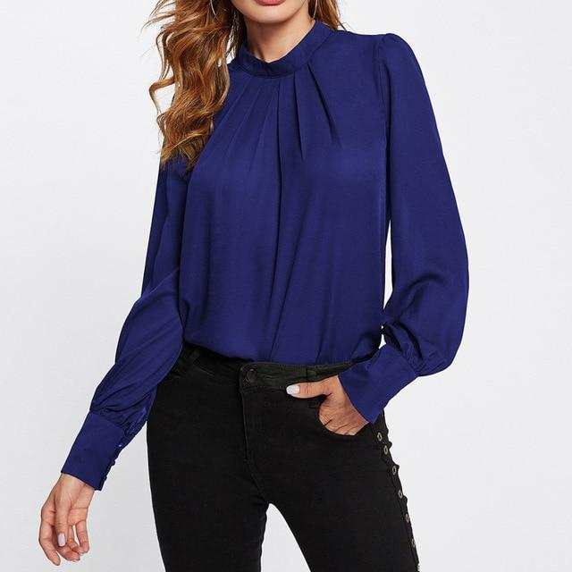 Stand Collar Chiffon Workwear Tops Office Ladies Long Sleeve Pleated Regular Fitrricdress-rricdress