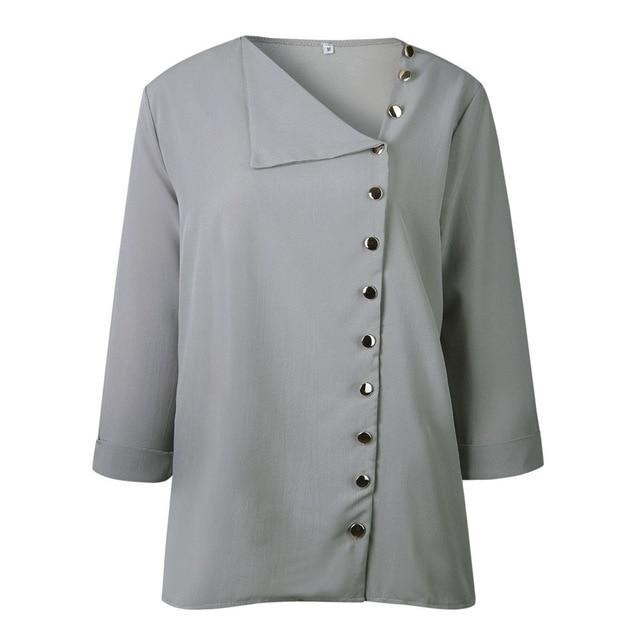 Winter Womens Casual Lapel Neck shirt Ladies Long Sleeve Buckle girl Blouserricdress-rricdress