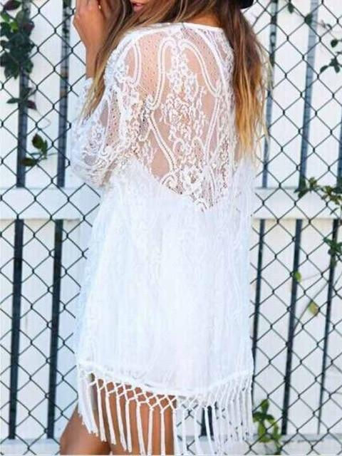 New Summer Women Boho Solid Lace Kimono Cardigan Tassels Beach Cover Uprricdress-rricdress