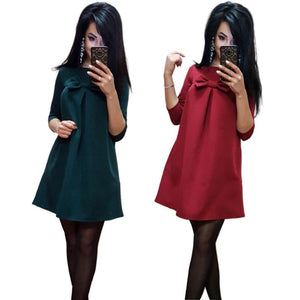 2018 New Fashion Autumn Green Red A-Line Vestidos Women O-neck 3/4 sleeverricdress-rricdress