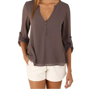 Zipper Short Sleeve Women Shirts Sexy V Neck Solid Womens Topsrricdress-rricdress