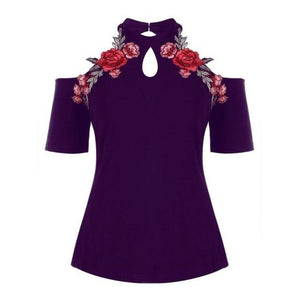 Plus Size 5XL 2018 Womens Tops and Blouses Tunic Applique Cold Shoulderrricdress-rricdress