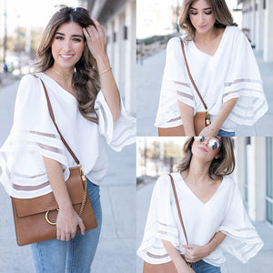 2018 Korean Women Blouses Mesh Flare Sleeve Tops Femme Summer Autumn V-Neckrricdress-rricdress