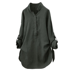 Blouse Women Plus Size 5xl Fashion Stand Collar Button Long Sleeve Ladiesrricdress-rricdress