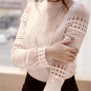 New Women Blouses Slim Bottoming Long-sleeved White Shirt Lace Hook Flower Hollowrricdress-rricdress