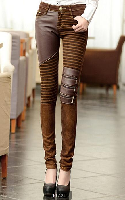 Women' PU Leather Patchwork Jeans Pants Fashion Zippers Boots Trousers Pencil Pantsrricdress-rricdress