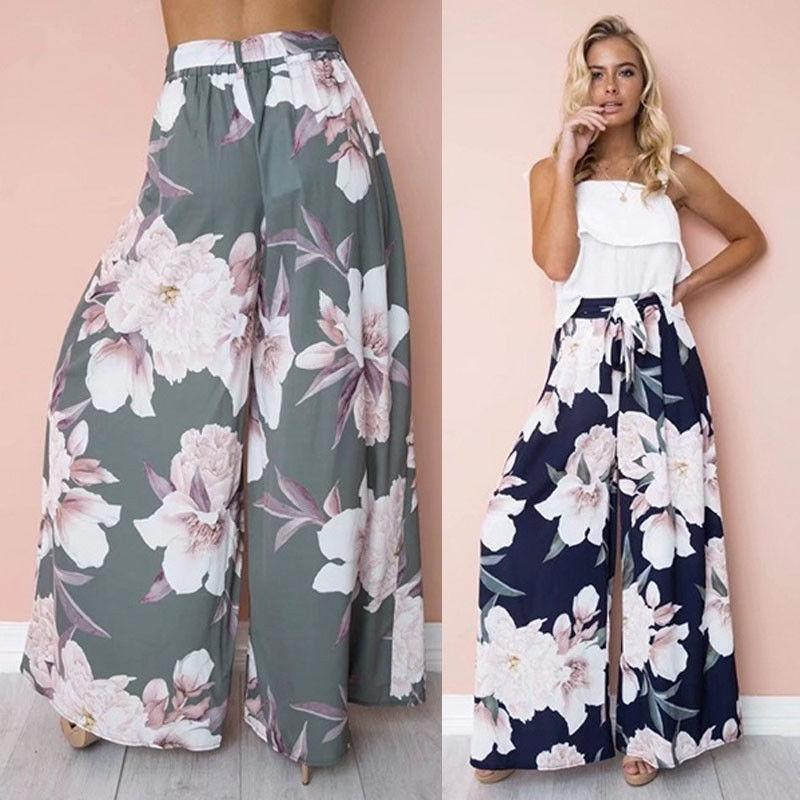 Womens Floral Palazzo Pants High Waist Wide Leg Culottes Ladies Loose Casualrricdress-rricdress