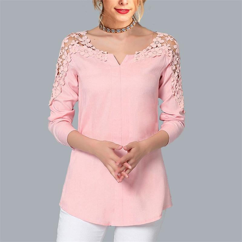Womens Tops and Blouses Casual Lace Hollow Out Blouse Sexy V-Neck Coldrricdress-rricdress