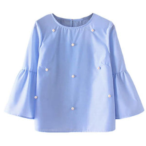 Feitong Women Tops and Blouses Summer 2018 Beading Three Quarter Flare Sleeverricdress-rricdress
