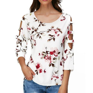Women Shirts Womens Tops and Blouses Flower Print O-Neck Cutout Hollowrricdress-rricdress